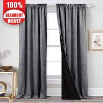 StangH Bedroom Velvet Curtains Grey - 2 Layers Blackout Curtain Panels with Black Liner for Kids Room, Temporary Curtains for Window, 52 inches Width by 96 inches Length, 2 Panels