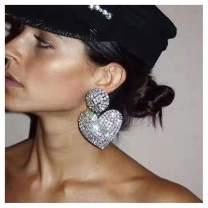Heart Drop Earrings Rhinestone Heart Love Dangle Silver Plated Valentine's Day Special Gifts Heart Stud Earrings for Women