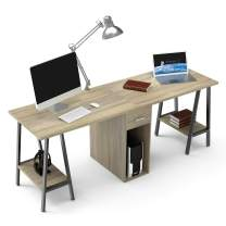 """DEWEL Two Person Desk Dual Desk with Drawer 78"""" Double Side Desk Workstation Long Executive Computer Office Desk Writing Table with Storage Shelves for Home Office"""