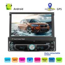 "Podofo Car Navigation System - Single Din Android 8.0 Car Stereo 7"" Touch Screen GPS Navigation Unit in-Dash Bluetooth CD/DVD Audio/Radio FM/AM AUX/USB/MP3/MP4/R.D.S."
