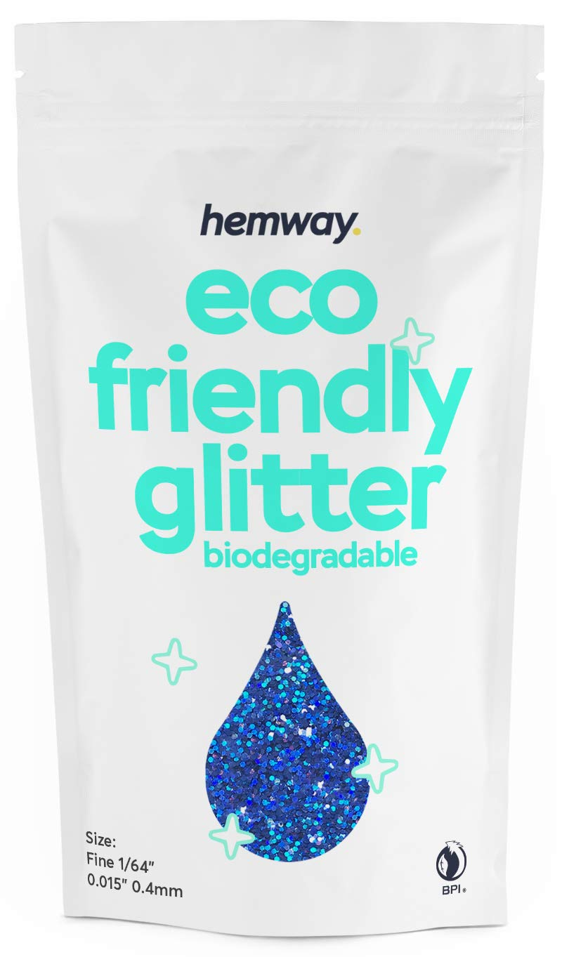 """Hemway Eco Friendly Biodegradable Glitter 100g / 3.5oz Bio Cosmetic Safe Sparkle Vegan For Face, Eyeshadow, Body, Hair, Nail And Festival Makeup, Craft - 1/64"""" 0.015"""" 0.4mm - Sapphire Blue Holographic"""