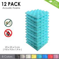 Arrowzoom New 12 Pack of (9.8 in X 9.8 in X 1.9 in) Soundproofing Insulation Pyramid Acoustic Wall Foam Padding Studio Foam Tiles AZ1034 (Baby Blue)