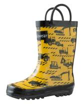OAKI Kids Rubber Rain Boots with Easy-On Handles, Construction Vehicles, 12T US Toddler