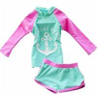 Baby Girls Kids Toddler Two Piece Long Sleeve Swimwear Rash Guard UPF 50+ UVSwimsuits Bathing Suits