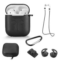 Taifond Compatible for AirPods Case Protective Silicone Cover and Skin for AirPods Charging Case [Front LED Not Visible] (Black)