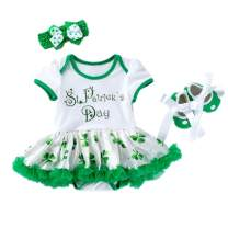 St. Patrick's Day Newborn Infant Baby Girls Outfit Green Shamrocks Bodysuit Tutu Dress Headband Shoes 3PCS Set