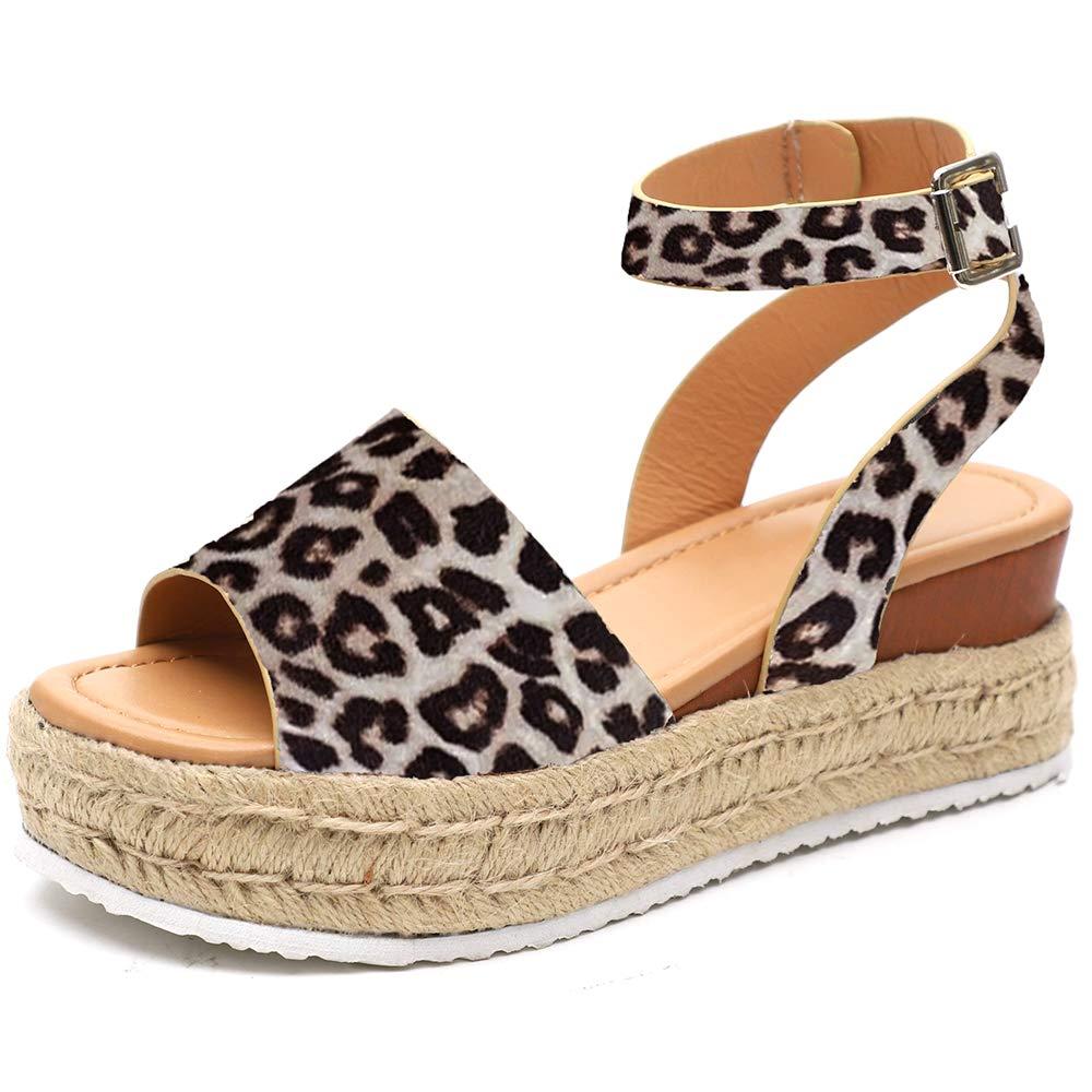XMWEALTHY Women's Ankle Strap Platform Wedges Sandals Casual Open Toe Espadrilles Sandals for Summer