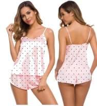 SWOMOG Womens Sexy Lingerie Silk Satin Pajamas Cami Shorts Set Sleepwear