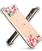 GVIEWIN iPhone 11 Pro Max Case, Clear Flower Design Soft & Flexible TPU Ultra-Thin Shockproof Transparent Bumper Protective Floral Cover Case for iPhone 11 Pro Max 6.5 Inch 2019 (Peach Blossom/Pink)