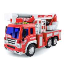 Gizmovine Fire Truck Toy Friction Power with Lights and Sounds, Extending Rescue Rotating Ladder Pull Back Construction Toys Vehicles for Toddlers Boys 4, 3, 2 Year Old, 1:16 Scale