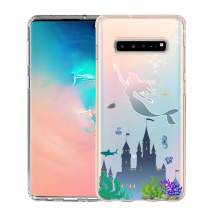 Unov Galaxy S10 5G Case Clear with Design Soft TPU Shock Absorption Embossed Pattern Slim Protective Back Cover for Galaxy S10 5G Version 6.7inch (Mermaid Castle)