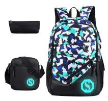 JiaYou Boy 20L Fashion School Bag Backpack with Florescent Mark 3 Sets/2 Sets(ColorA 3 Sets,20L)