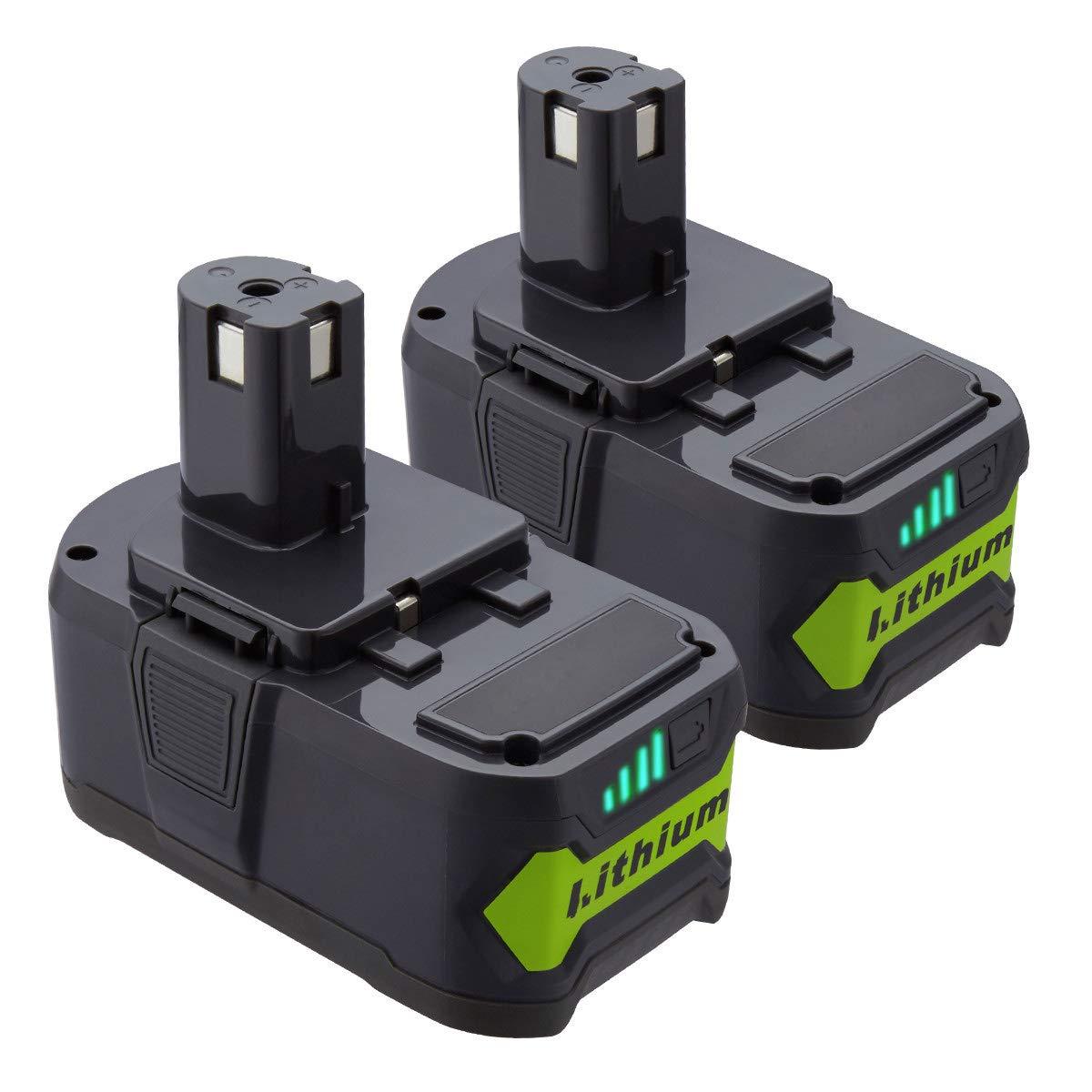 Powerextra 2 Pack 5000mAh Ryobi 18V Lithium Replacement Battery for Ryobi 18 Volt ONE+ P102 P103 P104 P105 P107 P109 P122 Cordless Power Tools (2 Pack)