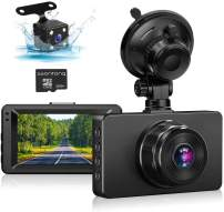 "Dash Cam Front and Rear, Dash Cam 1080P Full HD Dual Dash Camera for Cars 3"" IPS Screen in Car Camera Front and Rear Night Vision,170°Wide Angle Motion Detection Parking Monitor G-Sensor(with SD Card)"