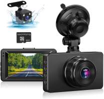 """Dash Cam Front and Rear, Dash Cam 1080P Full HD Dual Dash Camera for Cars 3"""" IPS Screen in Car Camera Front and Rear Night Vision,170°Wide Angle Motion Detection Parking Monitor G-Sensor(with SD Card)"""