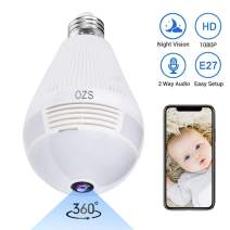 1080P Smart Bulb Security Camera, 360 Degree Panoramic 2.4G WiFi Camera Indoor/Outdoor Wireless Video Surveillance IP Camera for Baby/Pet Monitor with Night Vision, Two Way Audio, Montion Detection