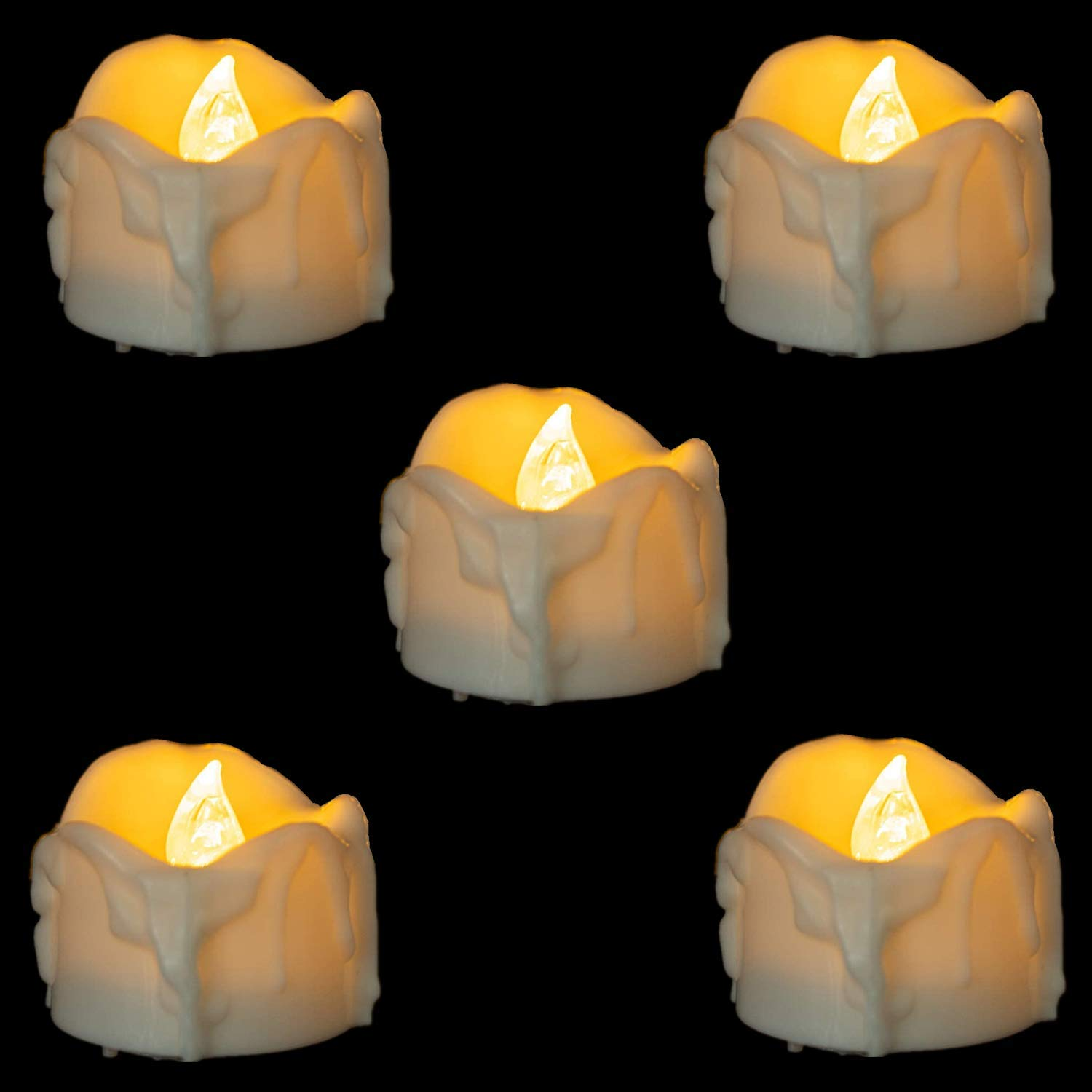 12 Pcs Flameless LED Tea Light Candles, Battery Operated Votive Tea Lights Candle for Halloween,Wedding,Christmas,Home Party Decorations,Flickering Flameless Candles Dripping Wax Warm White Light
