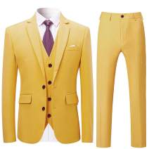 Mens Stylish 3 Piece Dress Suit Classic Fit Wedding Formal Jacket & Vest & Pants
