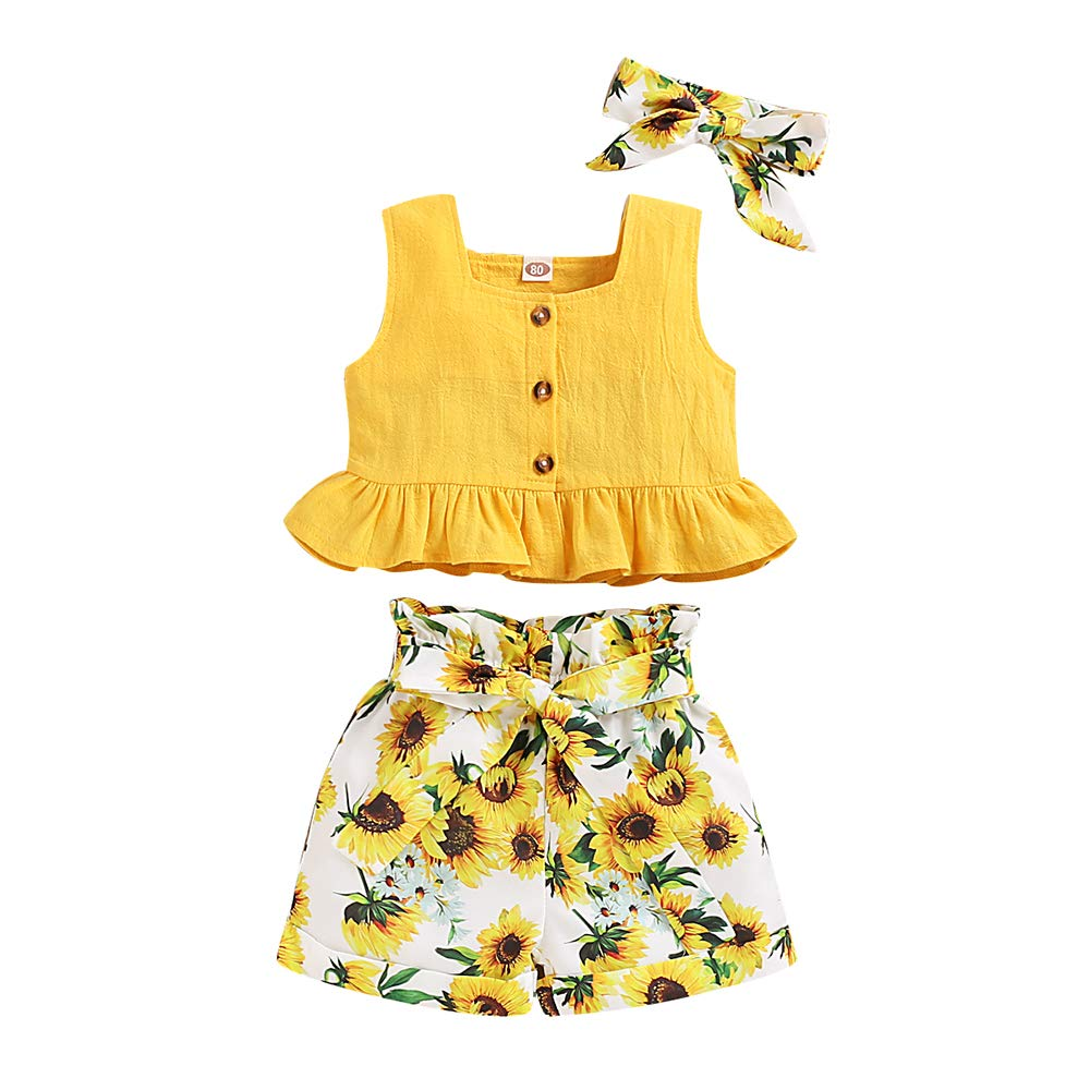 Toddler Baby Girl Clothes Sleeveless Ruffled Tops+ Sunflower Pants +Bowknot Headband 3pcs Summer Outfits