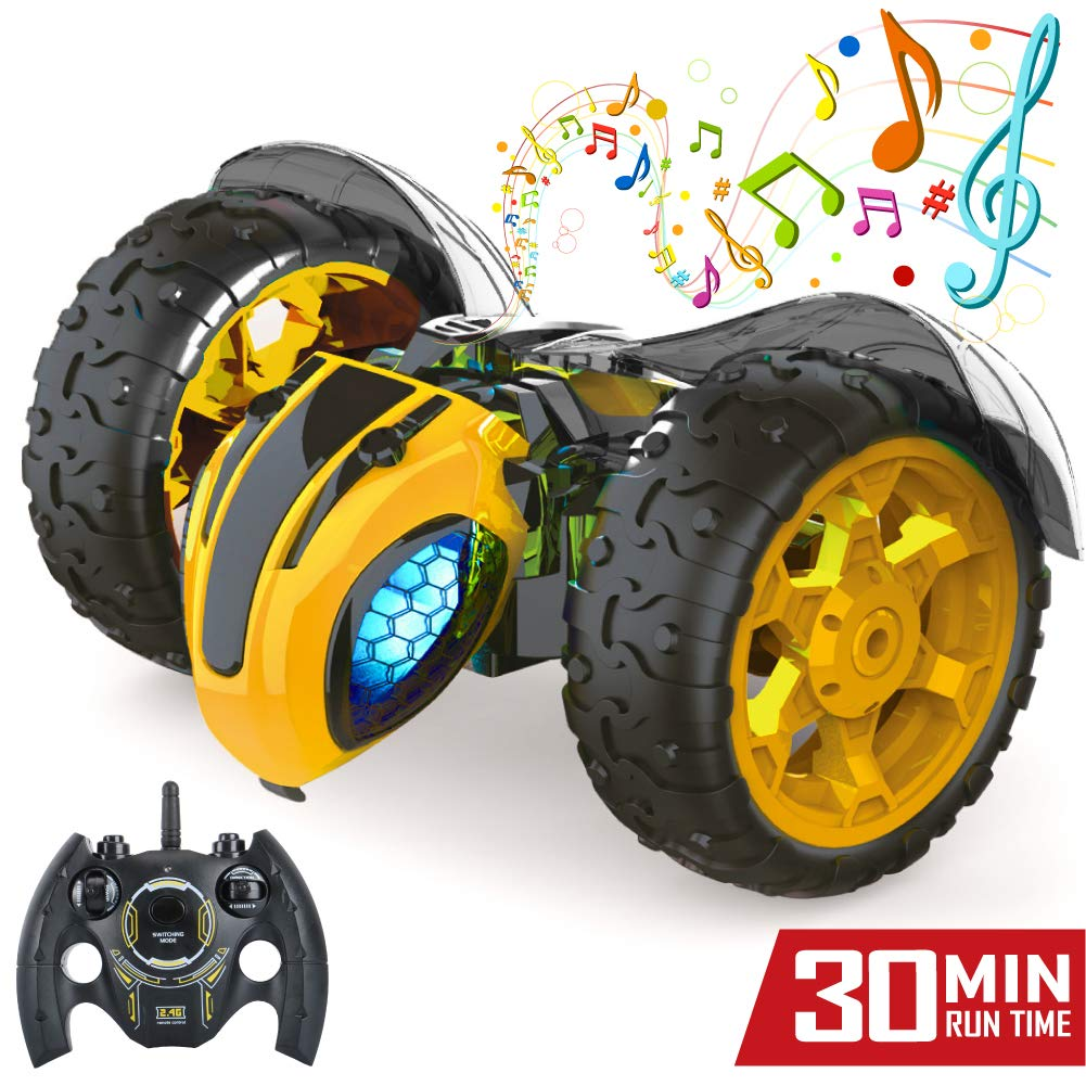 Jasonwell 1:8 X-Large RC Car for Kids Remote Control Car 2.4Ghz Rechargeable Off Road Race Cars Bumble Lightning Bee Rock Crawler Music Electric RC Toys Gifts for Boys Girls 5 6 7 8 9 10 12 Years Old