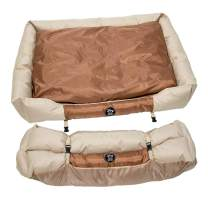 BOSNAL - Portable Pet Bed Indoor Outdoor Camping Weatherproof with Removable Cover Lightweight and Packable for Small Dogs, Brown
