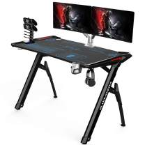 Kinsal 45 inch Gaming Desk Speed Series Computer Desk with Free Large Mouse pad, Racing Style Professional Gamer Game Station with USB Charger Gaming Handle Rack, Cup Holder & Headphone Hook