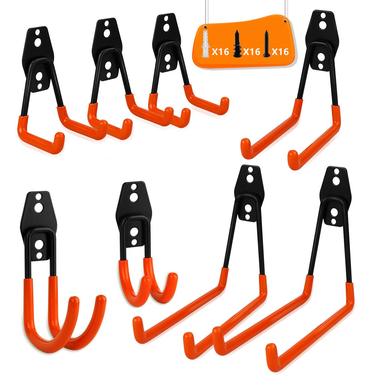 Garage Storage Utility Double Hooks, WOHOME 8-Pack Heavy Duty Wall Hooks for Organizing Power Tools, Ladders, Bulk Items, Bikes, Ropes and More