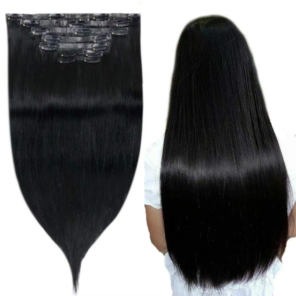 Easyouth Full Head Clip Hair Extensions 18 Inch 100 Grams Natural Black PU Clip in Hair Extension, Best Rated Real Remy Human Hair Extensions for Girls