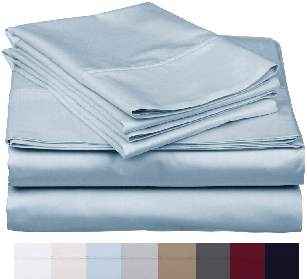 "Carressa Linen 800 Thread Count 100% Long Staple Soft Egyptian Cotton SheetSet, 4 Piece Set, Full Sheets,Upto 17"" Deep Pocket, Smooth & Soft Sateen Weave, Deep Pocket, Luxury Bedding, Sky Blue"