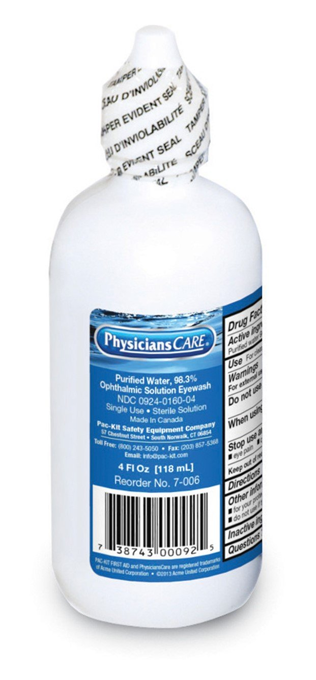 First Aid Only 7-006 Eye Wash Solution, 4 oz Bottle (Case of 48)