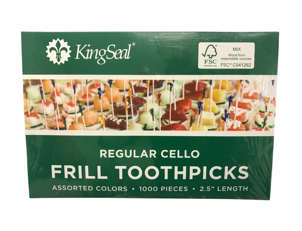 """KingSeal FSC Certified Sustainably Sourced Natural Birch Sandwich Frill Picks, Assorted Color - 2.5"""" length, 2 packs of 1000 per Case, for Appetizers and Cocktails"""
