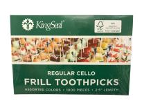 "KingSeal FSC Certified Sustainably Sourced Natural Birch Sandwich Frill Picks, Assorted Color - 2.5"" length, 2 packs of 1000 per Case, for Appetizers and Cocktails"