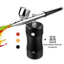 COSSCCI Handheld Airbrush Kit, Portable Mini Air Brush Spray Gun with Compressor Kit Single Action Air Brush Painting Kits for Cake Decorating Makeup Art Nail Model Painting Tattoo Manicure (Black)