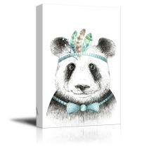 wall26 - Animal Canvas Wall Art Series - Hand Drawing of a Panda - Giclee Print Gallery Wrap Modern Home Decor Ready to Hang - 12x18 inches