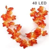 Twinkle Star Thanksgiving Decoration Fall Lights, 2 Pack Maple Leaves String Lights, Each Strings with 20 LED 11 FT Battery Operated Light, Decor for Indoor, Halloween, Autumn Harvest Festival