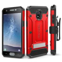Evocel Explorer Series Pro Compatible with Galaxy J3 2018/ J3 V 3rd Gen/Express Prime 3/ J3 Achieve/ J3 Star/Amp Prime 3 Heavy Duty Protection Case w/Tempered Glass, Holster, Kickstand – Red
