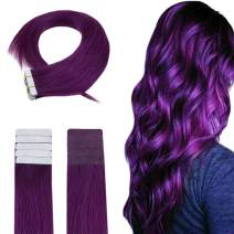 Easyouth Tape for Hair Extensions (22inch 50g) Color Purple 20pieces per Package Extensions Remy Human Hair, Human Hair Tape Extensions Easy to Style for Hairdresser Real Human Hair