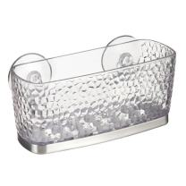 InterDesign Rain Kitchen Sink Suction Holder for Sponges, Scrubbers, Soap - Clear