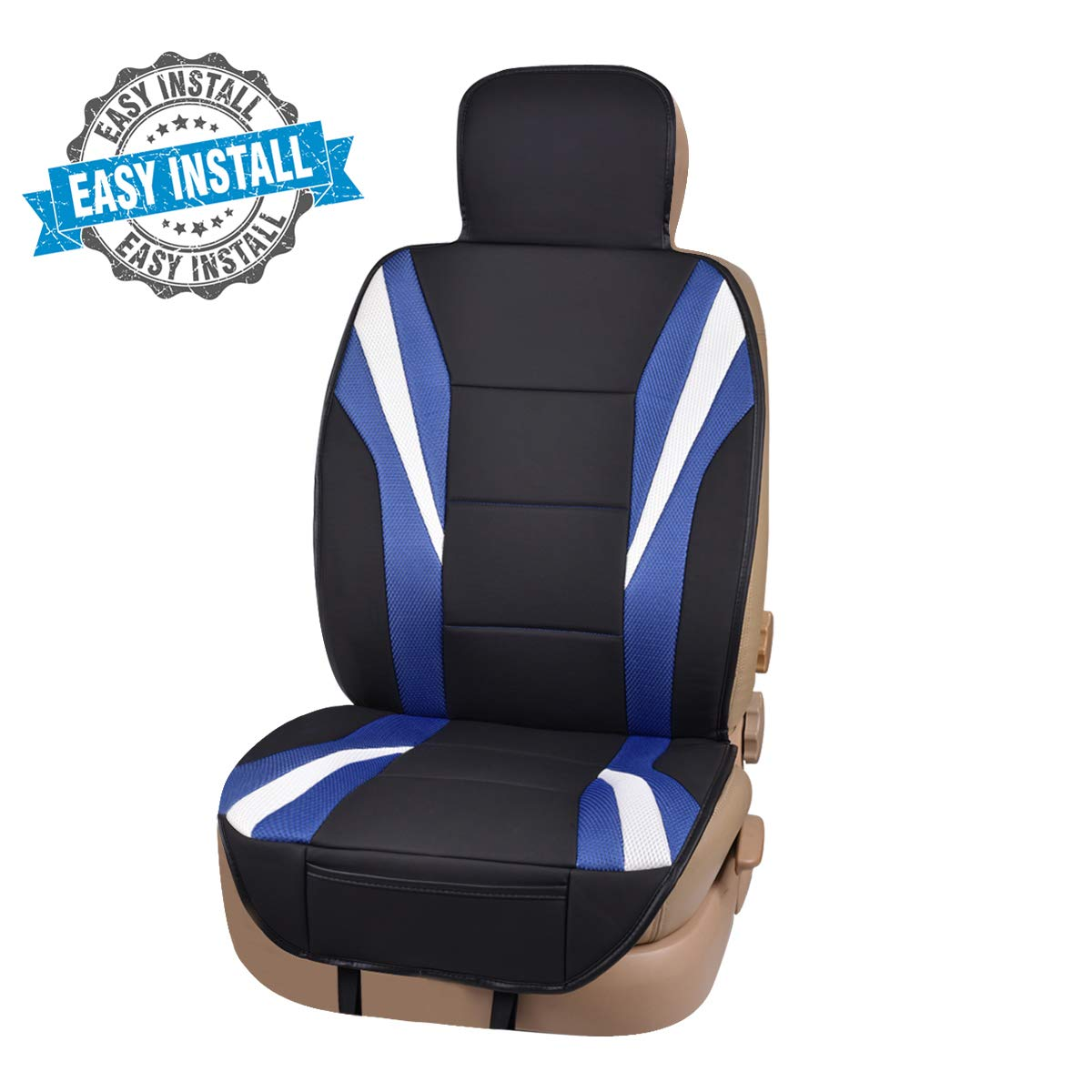 CAR PASS Delux Sideless Universal Fit Cool Driver Car Seat Cover, Seat Cushion,for 1 Peice with Carriage Bag Included, for Suvs,Trucks,Sedans,Cars,Vehicles,Vans(Black and Blue)