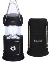 Solar Portable LED Emergency Lantern - Edomi Collapsible Camping light USB Rechargeable Super Bright Tent lamp with Power Bank FUNC, Batteries included, Survival Kit for Power Outage Hurricane Hiking