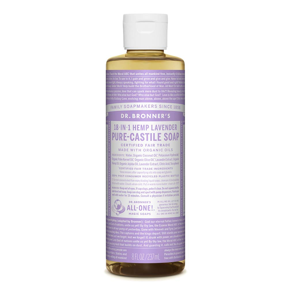 Dr. Bronner's - Pure-Castile Liquid Soap (Lavender, 8 ounce) - Made with Organic Oils, 18-in-1 Uses: Face, Body, Hair, Laundry, Pets and Dishes, Concentrated, Vegan, Non-GMO