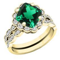 Dazzlingrock Collection 14K Yellow G old 7 MM Cushion Gemstone & Round Diamond Ladies Halo Engagement Ring Set