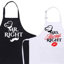 AUXSOUL Couples Aprons Mr & Mrs Right 2 Pack for Bride Engagement Wedding Anniversary (Mr&Mrs Right)