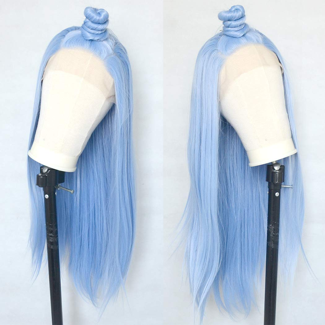 Luwigs Ice Blue Light Cerulean Synthetic Lace Front Wigs Long Silky Straight Hand Tied Heat Resistant Natural Pastel Blue Wigs for Women 22inches