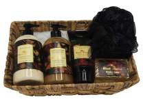 Camille Beckman Essentials Gift Basket, Oriental Spice, Glycerine Hand Therapy 6 oz, Silky Body Cream 13 oz, Hand and Shower Cleansing Gel 13 oz, Glycerine Soap 3.5 oz