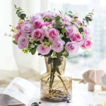 YILIYAJIA Silk Artificial Flowers with Grass Vase Fake Rose Bulk Wedding Flowers Bouquets for Party Home Centerpieces Table Decoration (Rose Pink)