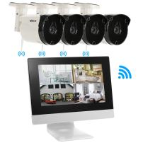 KKmoon 4Ch Wireless Camera CCTV System With 10.1 Inch LCD Monitor 4pcs HD 720P WiFi Outdoor Weatherproof Camera Support P2P IR Night Vision for Android/iOS APP Motion Detection