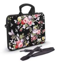 Anyshock Ultraportable Water-Resistant Neoprene Laptop Shoulder Bag Carrying Case Sleeve with Handle Extra Pocket Messenger Computer Bag Compatible 13-13.3 inch MacBook Air Pro, HP(Small-Peony)