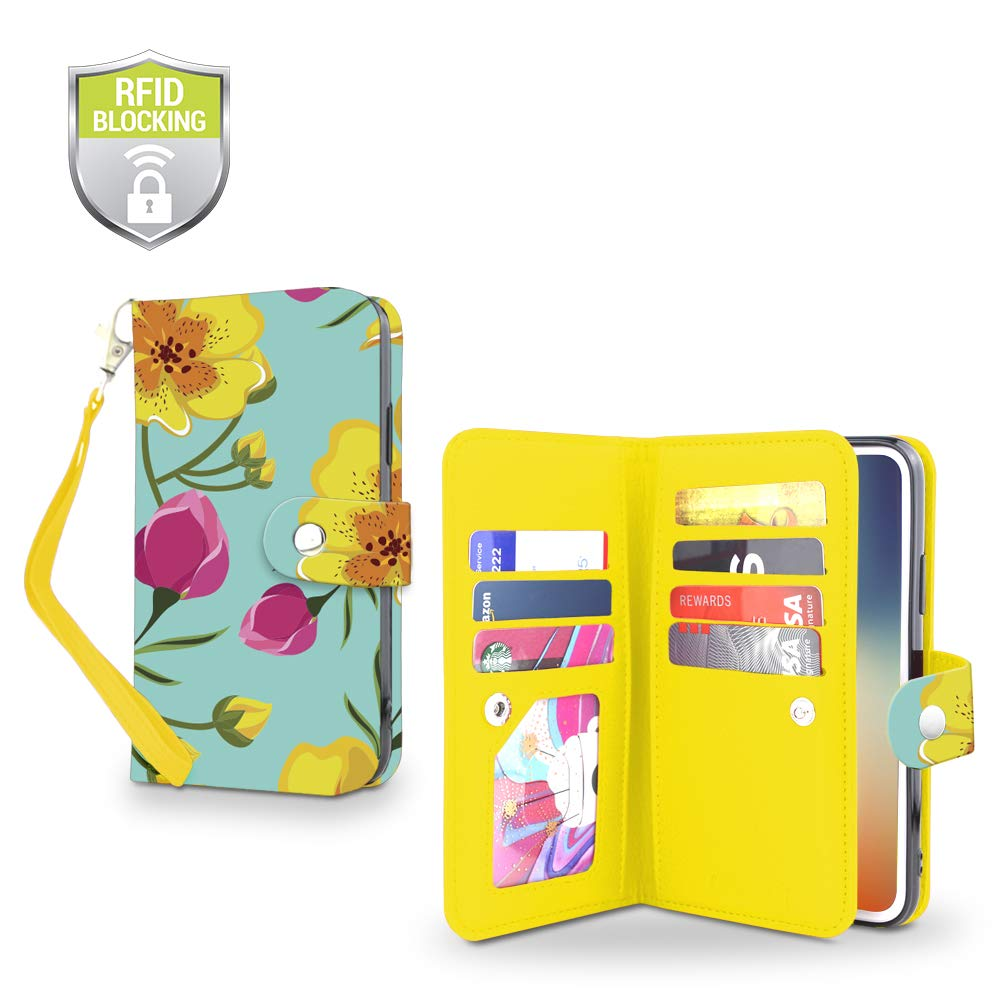 Gear Beast Flip Cover Dual Folio Case fits iPhone Xs MAX Wallet Case Slim Protective PU Leather Case 7 Slot Card Holder Including ID Holder 2 Inner Pockets Stand Feature Wristlet (Wild Flower)