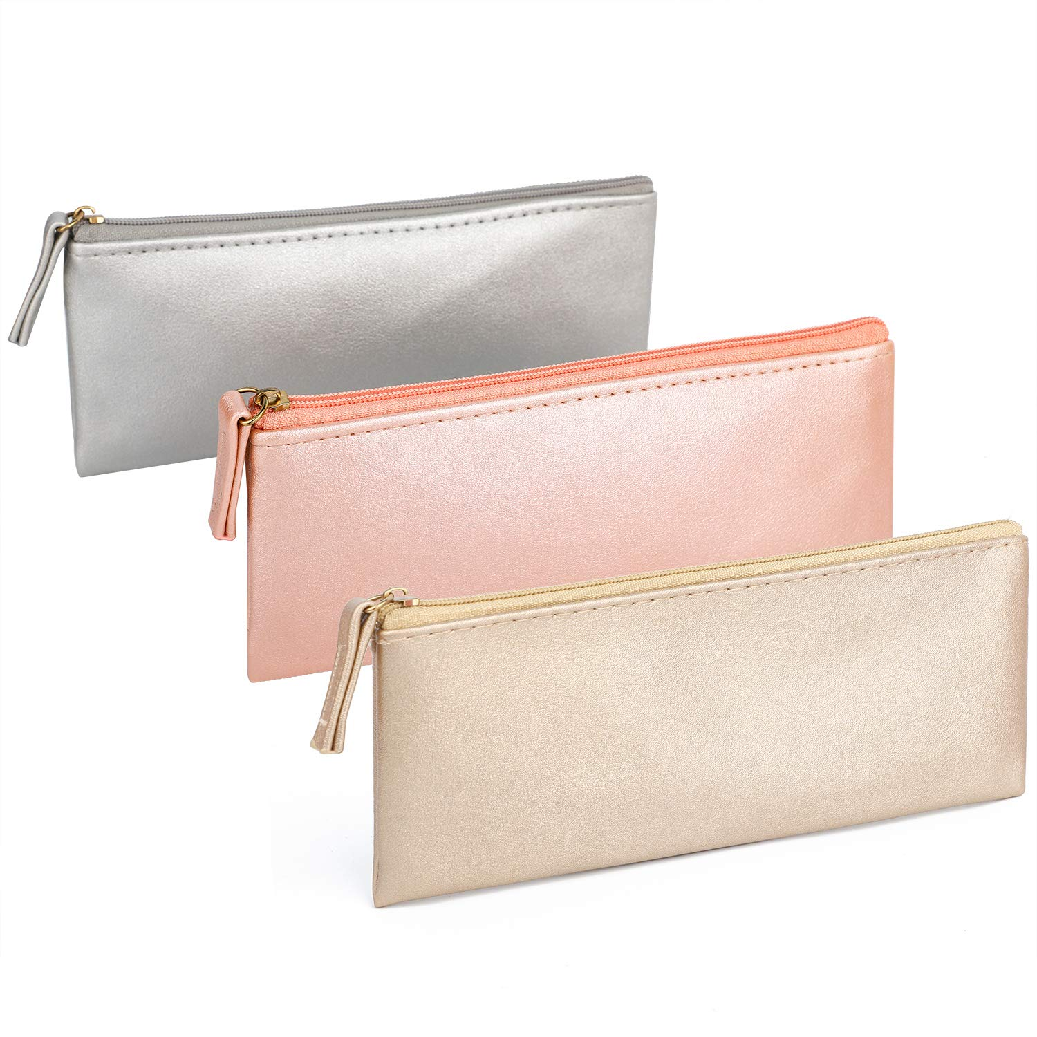 SumDirect 3Pcs Small Pencil Bag Pen Case, PU Leather Cosmetic Makeup Bag Pen Pencil Stationery Pouch Bag Case for Pens, Pencils, Eraser and Markers(Pink+Gold+Silver)